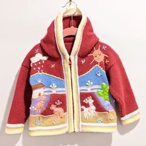Peruvian girls hooded zip sweater